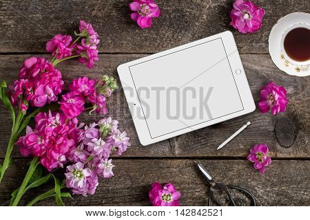 Styled mock up flatlay stock photography wooden background tablet device to place your business social media or blog message or design perfect for lifestyle bloggers