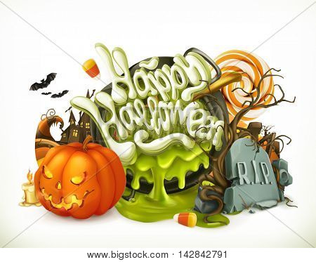 Halloween 3d vector emblem. Set of cartoon characters and objects, greetings text Happy Halloween for flyers and posters