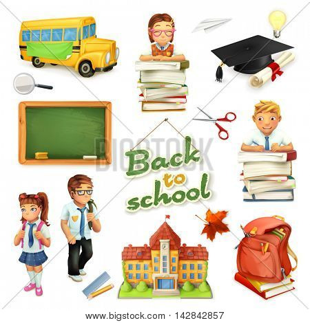 School and education. 3d vector icon set. Funny cartoon characters and objects. Greetings text Back to school for invitation flyers and posters