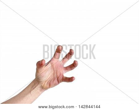 Hand In Awkward Frustrated Overstretched Position Isolated On White