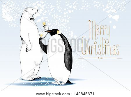 Merry Christmas vector seasonal greeting card. Penguin polar bear cute characters drinking glass of wine funny illustration. Design element with Merry Christmas hand drawn text