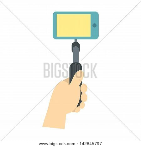 Hand holding selfie monopod stick icon in flat style on a white background