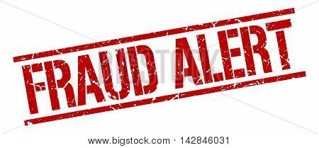 fraud alert stamp. red grunge square isolated sign