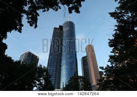 FRANKFURT AM MAIN, GERMANY - JUNE 14, 2015: Main Tower in the Bankenviertel (banking district) in Frankfurt am Main, Hesse, Germany.