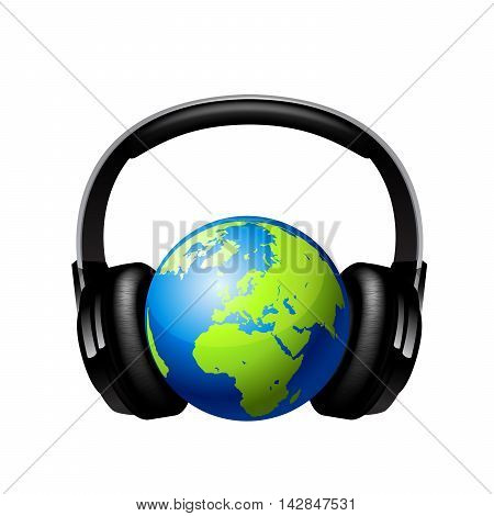 Globe with headphones on whit ebackground 10 eps.