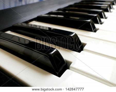 Closeup of Electronic Piano synthesizer Keyboard. Musical concept