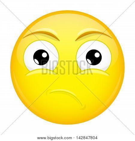 What emoji. Sad emotion. Puzzled emoticon. Illustration smile icon.