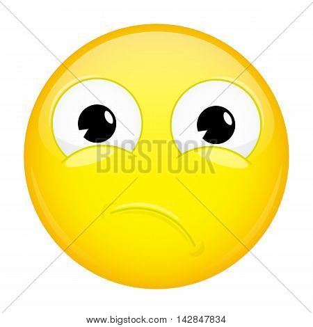Unpleasantly surprised emoji. Sorrow emotion. Hurt emoticon. Illustration smile icon.