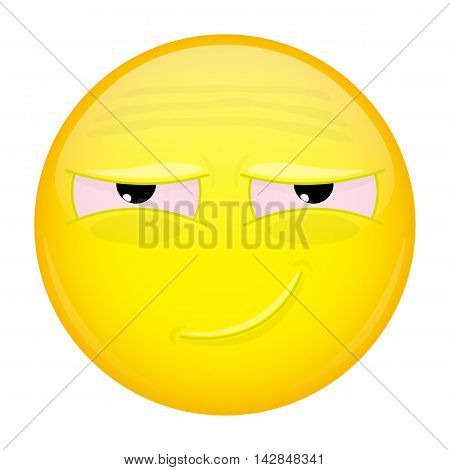 Tired smiling emoji. Weary emotion. Tired grin emoticon. Illustration smile icon.
