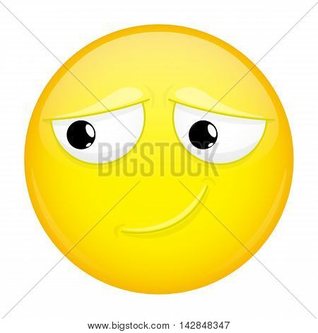 Uncertainly smiling emoji. Doubt emotion. Timid emoticon. Illustration smile icon.