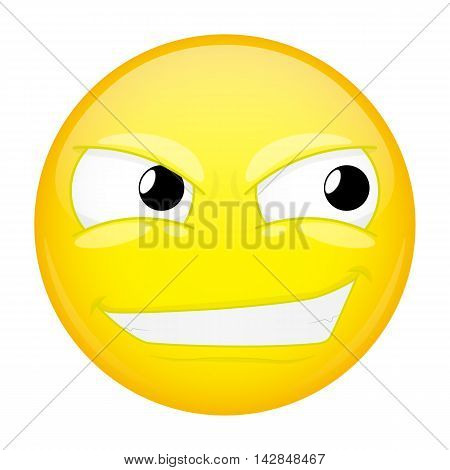 Smirk emoji. Sly emotion. Smiling emoticon. Illustration smile icon.