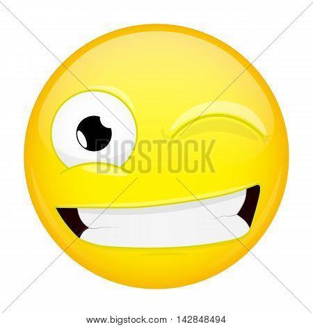 Wink emoji. Smile emotion. Twinkle grin emoticon. Illustration smile icon.