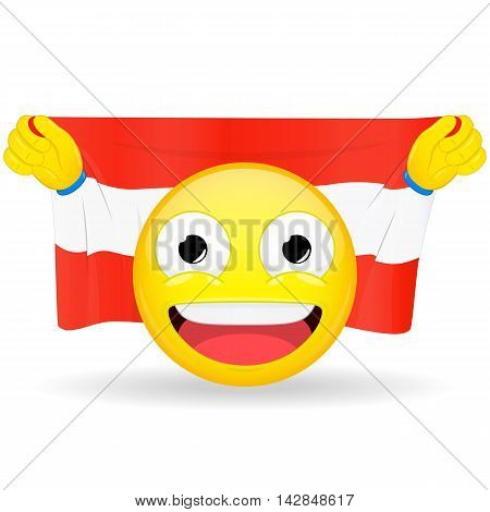 Emoji fan holds in hands flag behind his head. Austrian flag. Fan cares for his country. Glory spectator bawl emotion. Exult emoticon. Buff of sports games smile illustration.