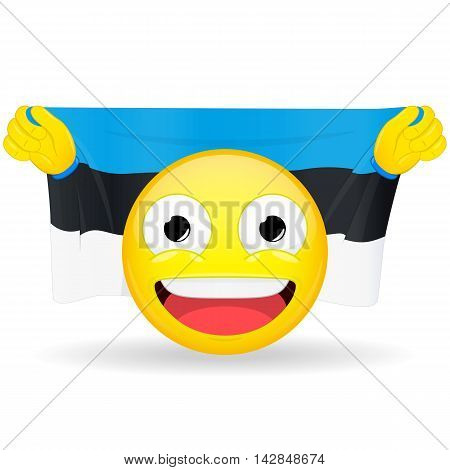 Emoji fan holds in hands flag behind his head. Estonian flag. Fan cares for his country. Glory spectator bawl emotion. Exult emoticon. Buff of sports games smile illustration.