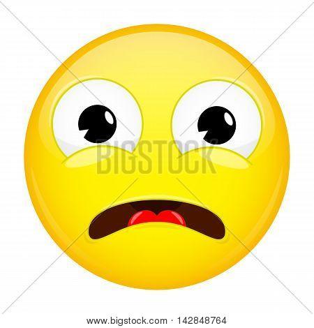 What emoji. Shock emotion. Surprise emoticon. Illustration smile icon.