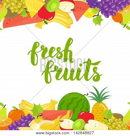 Seamless horizontal borders of colorful cartoon fruits on a white background. Vector stock illustration.