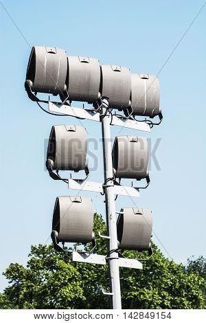 Stadium lighting scene. Vertical composition. Electrical equipment.