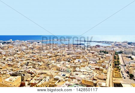 Aerial view from mediaval fortress that nowadays serves as the archaeological museum of Sousse, Tunisia, Africa