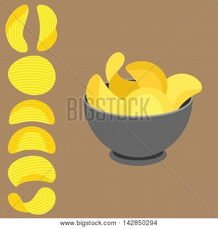 Vector potato chips in bowl and potato chips with texture, flat design