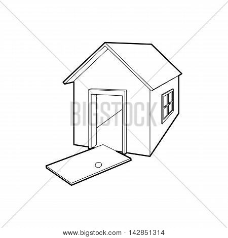 House destroyed icon in outline style on a white background