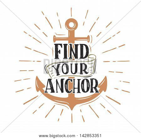 Anchor. Vector vintage logo sailor retro sign