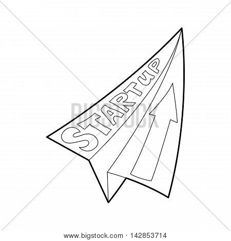 Paper palne with Start up inscription icon in outline style on a white background