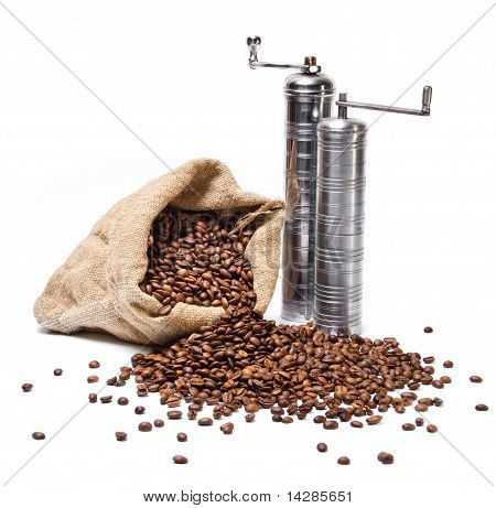 Coffee Beans Sack With Scattered Beans And Metal Coffee grinders