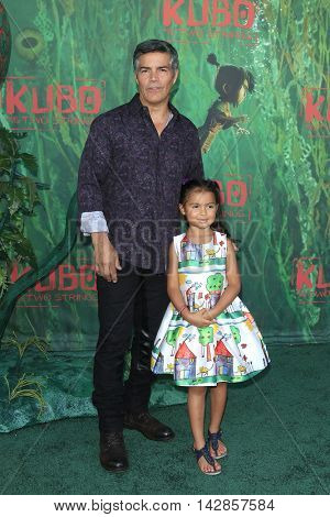 LOS ANGELES - AUG 14: Esai Morales, Mariana Oliveira Morales at the premiere of Focus Features' 'Kubo and the Two Strings' at AMC Universal City Walk on August 14, 2016 in Los Angeles, California