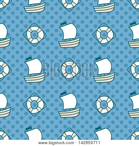 Seamless sea background. Hand drawn childish pattern. Suitable for fabric, greeting card, advertisement, wrapping. Bright and colorful sailing ships and lifebuoy seamless pattern