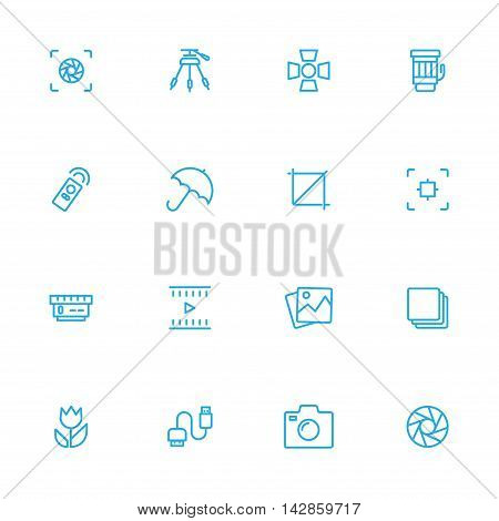 Photography control and equipment blue line icons set