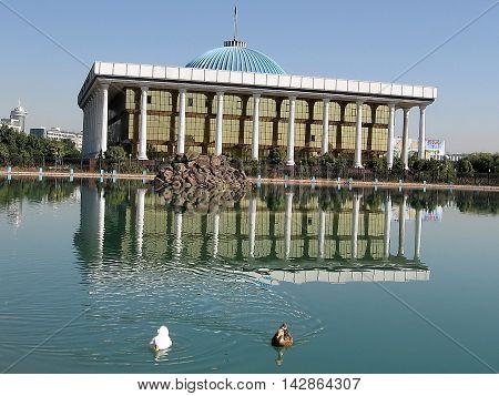 Majlis building and pond in Tashkent the capital of Uzbekistan