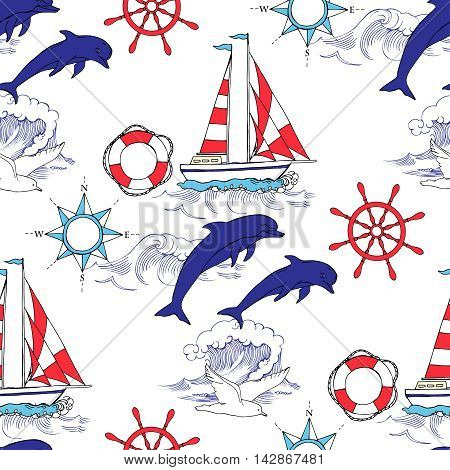 Nautical seamless pattern with ships and wheel, seahorse, sailing boats,  dolphin and sea knots. Hand drawn elements for summer holidays.Travel, sea and ocean. Vector Illustration