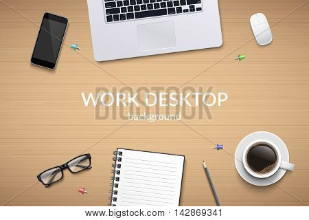 Office desk table with laptop, glasses, notebook, pencil, mouse, phone and coffee cup. Top view with copy space. Eps10 vector template.
