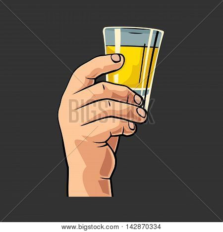 Male hand holding glass tequila. Vintage vector flat illustration for label poster invitation to invitation to party and birthday. Isolated on black background