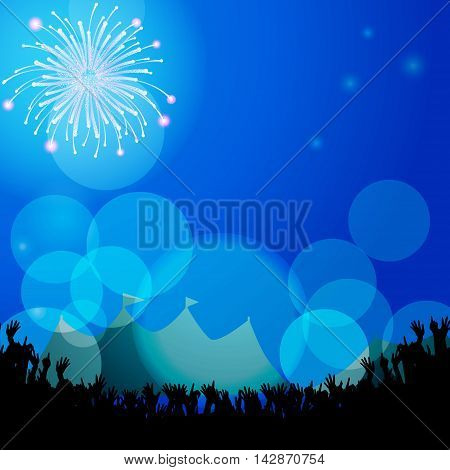 Festival Background with Tends Crowd and Fireworks