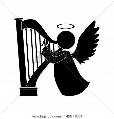 angel harp play heaven musical instrument halo wing  vector  isolated illustration