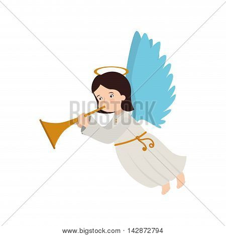 angel heaven trump play musical instrument halo wing  vector  isolated illustration