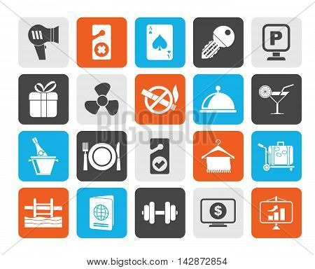 Silhouette Hotel and motel services icons 2- vector icon set