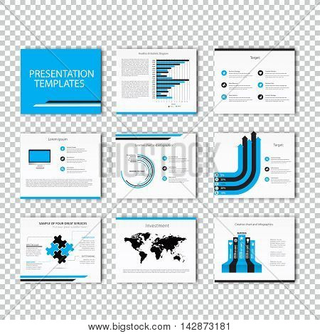 Multipurpose template for presentation slides with graphs and charts - blue and black version. Perfect for your business report or personal use.
