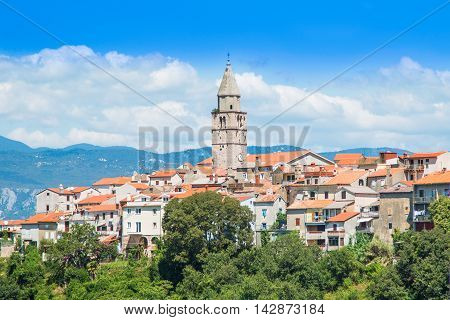 Panoramic view of the old town of Vrbnik on the Island of Krk, Croatia