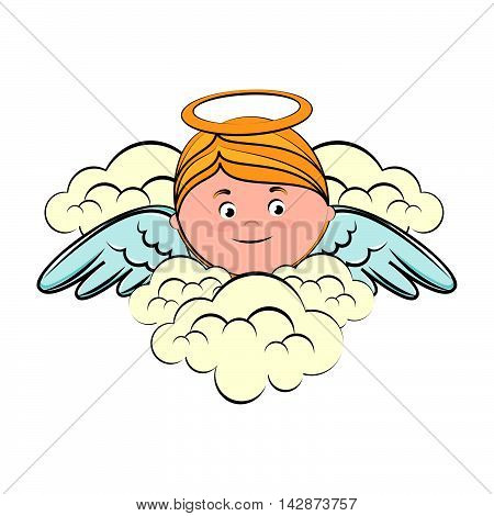 angel heaven clouds halo wing sky blonde face vector  isolated illustration