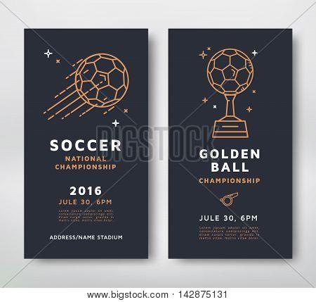 Soccer championship posters design. Line style vector illustration.