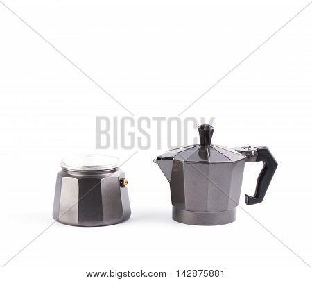 Italian Metallic Coffee Maker Isolated On White.