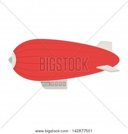 zeppelin balloon adventure fly travel dirigible vehicle sky vector  illustration isolated