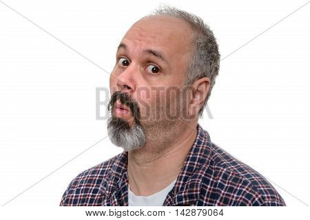 Surprised Middle-aged Man In His Pyjamas