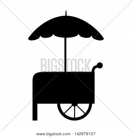 stall parasol food cart wheel fair vehicle vector  isolated illustration