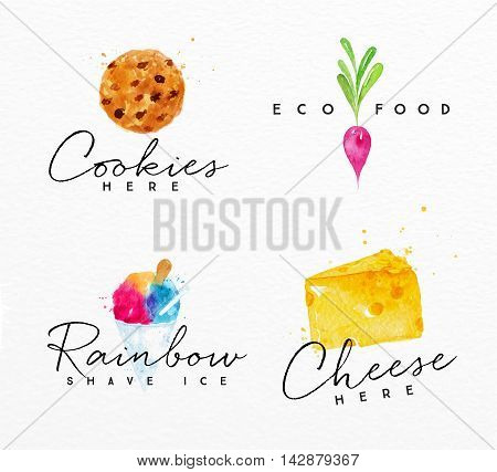 Set of watercolor labels lettering cookies here eco food rainbow shave ice cheese here drawing on watercolor background