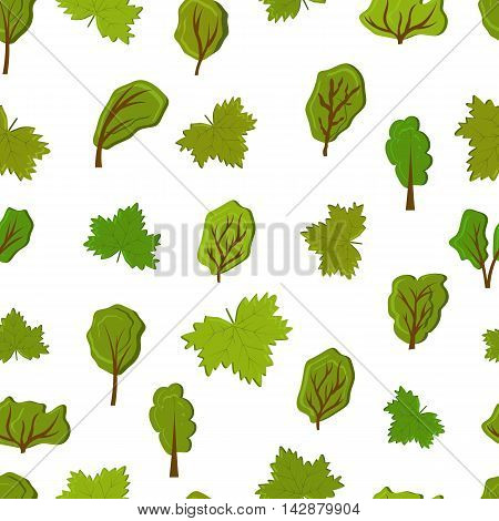 Nature seamless pattern. Green trees and leaves. The concept of environmental protection. Isolated on white background. Park zone. Flat style. Vector illustration.