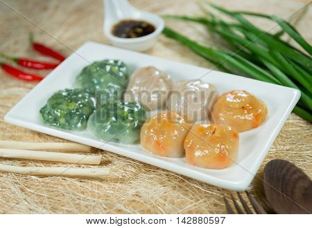 Steamed Dumpling stuffed with Garlic Chives and Taro and bamboo shoot Allium Tuberosum pastry steaming ChineseGarlic Chive Dumpling garlic chives dim sum Kuicheai steamed bread