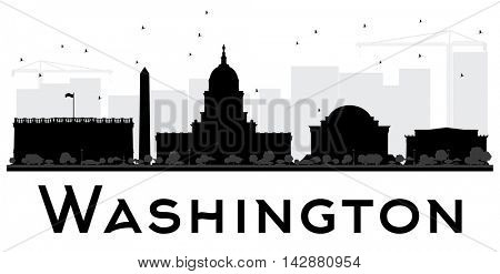 Washington DC City skyline black and white silhouette. Vector illustration. Simple flat concept for tourism presentation, banner, placard or web site. Business travel concept. Cityscape with landmarks